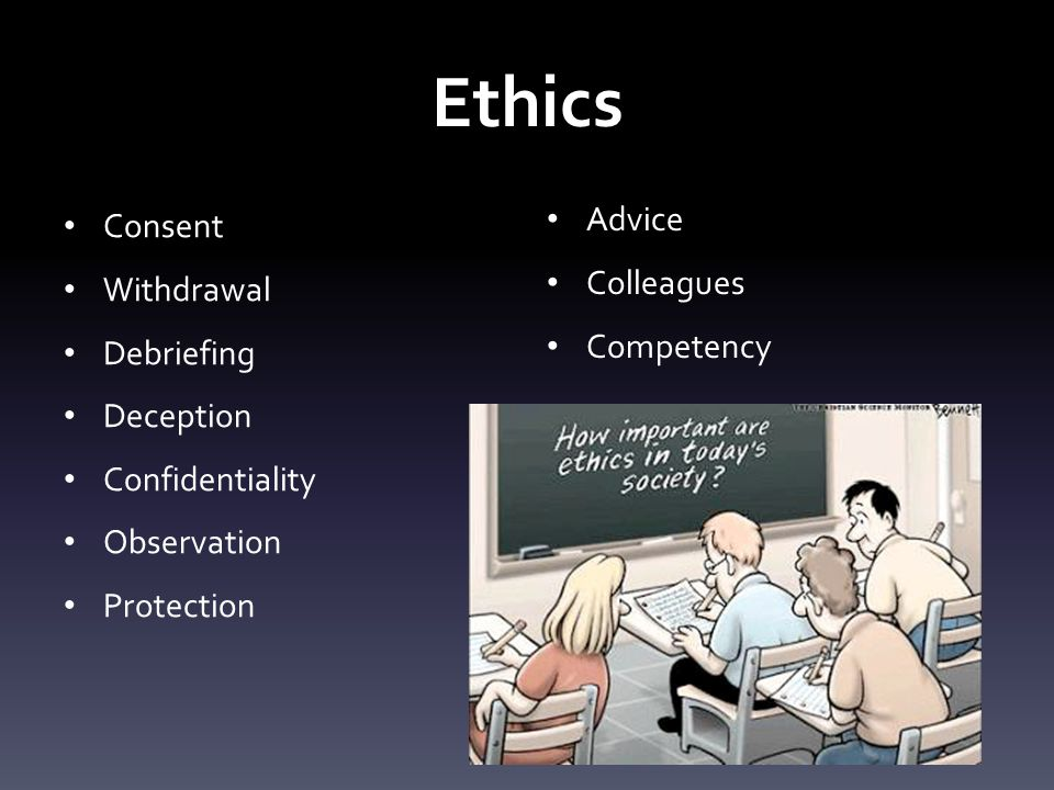 Ethics Consent Withdrawal Debriefing Deception Confidentiality Observation Protection Advice Colleagues Competency