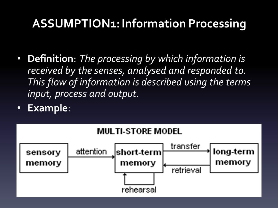 Information Processing INPUT INFO.RECEIVED BY SENSES PROCESSING INFO.