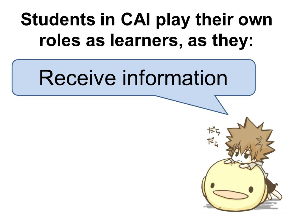 Students in CAI play their own roles as learners, as they: Receive information