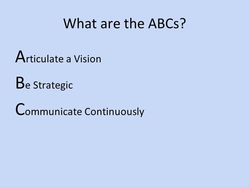 What are the ABCs A rticulate a Vision B e Strategic C ommunicate Continuously