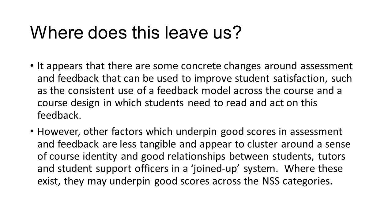 Discussion Question In a scenario of large student cohorts and a pressurised teaching resource, what concrete steps can we put in place to enhance student satisfaction with assessment and feedback?