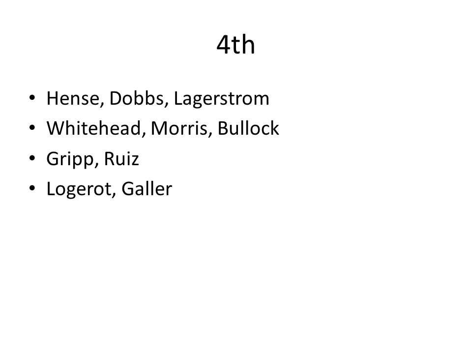 4th Hense, Dobbs, Lagerstrom Whitehead, Morris, Bullock Gripp, Ruiz Logerot, Galler