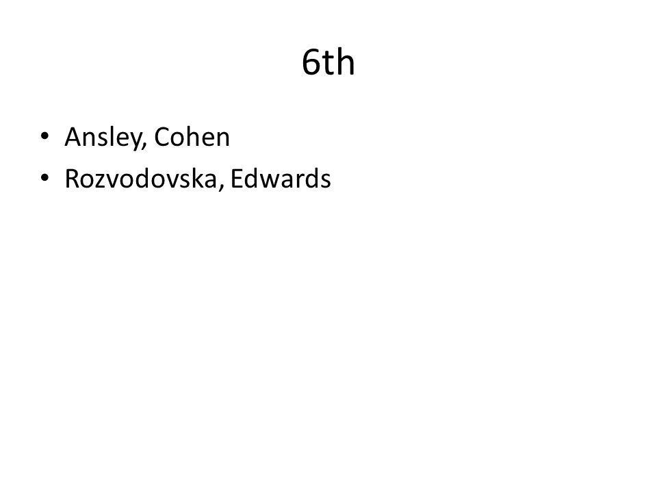 6th Ansley, Cohen Rozvodovska, Edwards