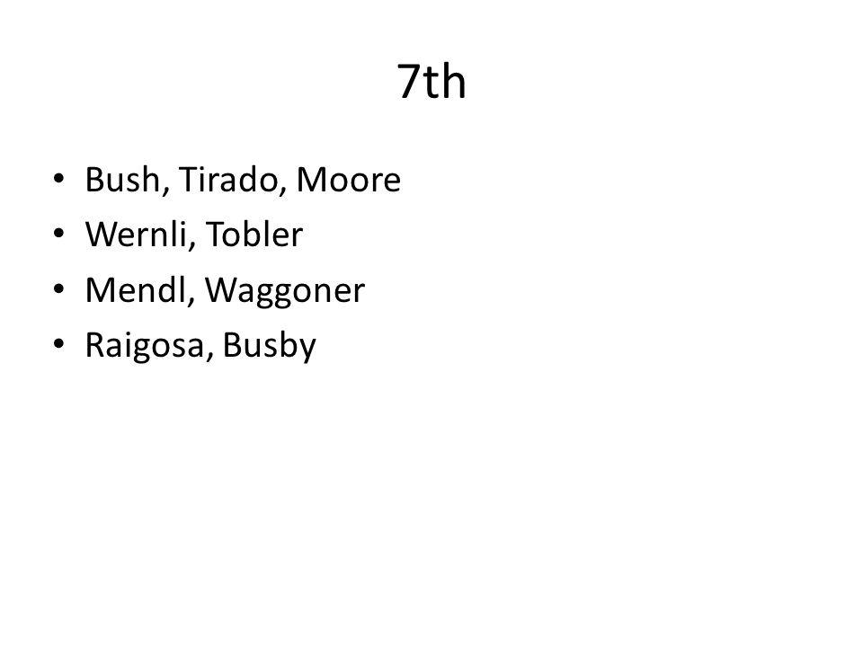 7th Bush, Tirado, Moore Wernli, Tobler Mendl, Waggoner Raigosa, Busby