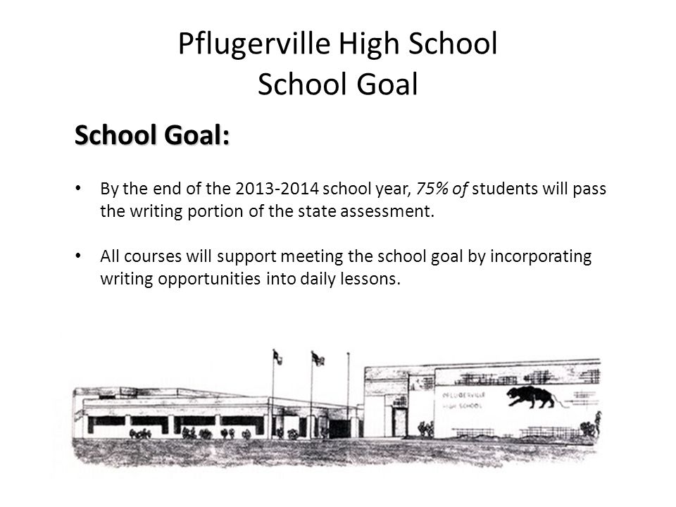 Pflugerville High School School Goal School Goal: By the end of the 2013-2014 school year, 75% of students will pass the writing portion of the state assessment.