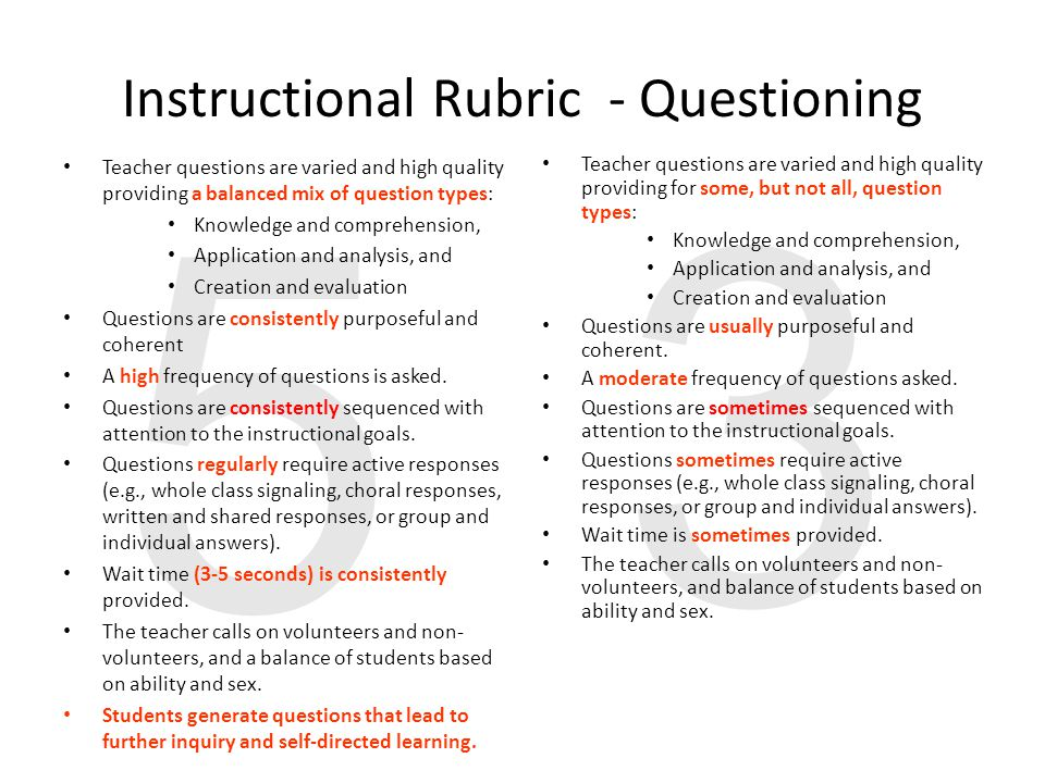 3 5 Instructional Rubric - Questioning Teacher questions are varied and high quality providing a balanced mix of question types: Knowledge and comprehension, Application and analysis, and Creation and evaluation Questions are consistently purposeful and coherent A high frequency of questions is asked.
