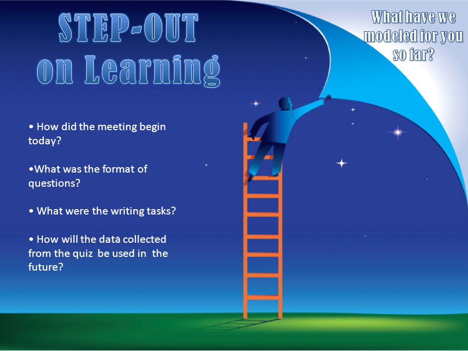 How did the meeting begin today? What was the format of questions? What were the writing tasks? How will the data collected from the quiz be used in t