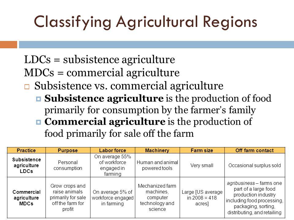 Classifying Agricultural Regions LDCs = subsistence agriculture MDCs = commercial agriculture  Subsistence vs. commercial agriculture  Subsistence a