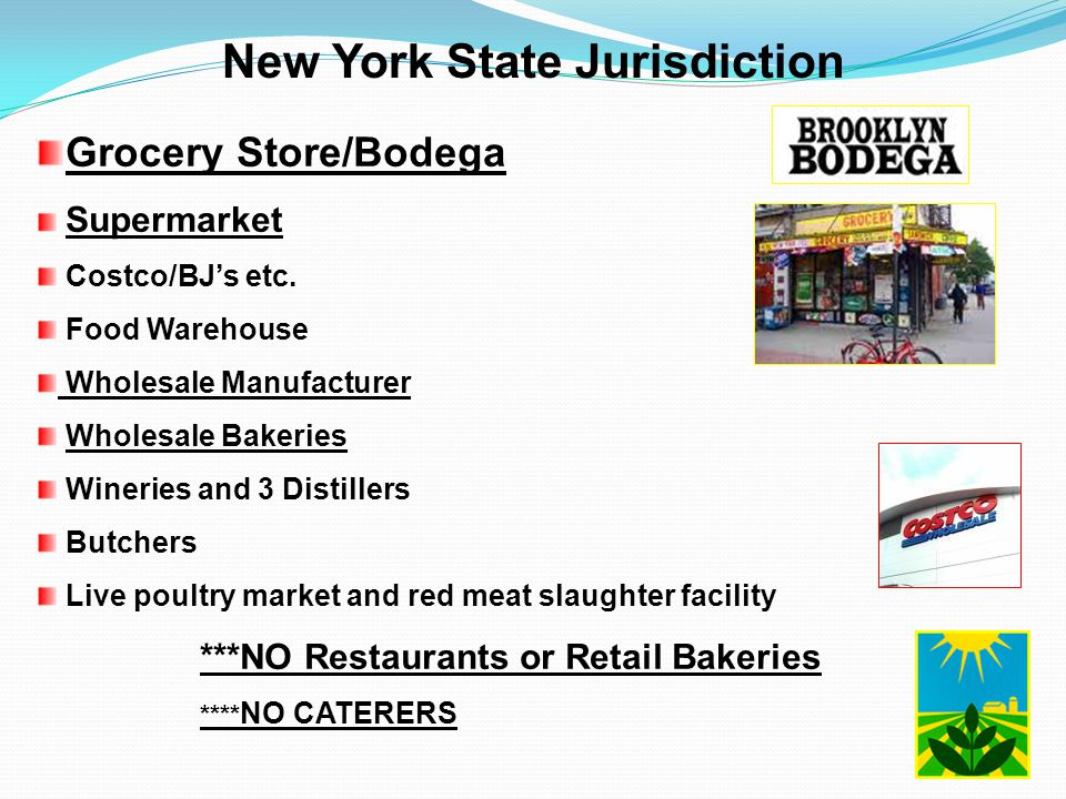 New York State Jurisdiction Grocery Store/Bodega Supermarket Costco/BJ's etc. Food Warehouse Wholesale Manufacturer Wholesale Bakeries Wineries and 3