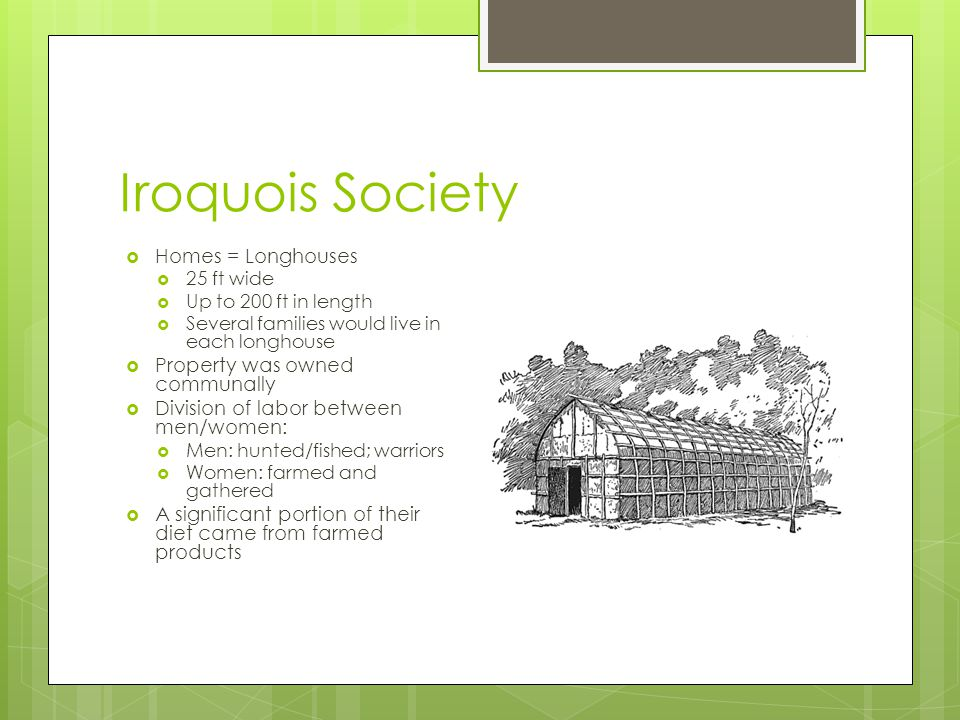 Iroquois Society  Homes = Longhouses  25 ft wide  Up to 200 ft in length  Several families would live in each longhouse  Property was owned commu