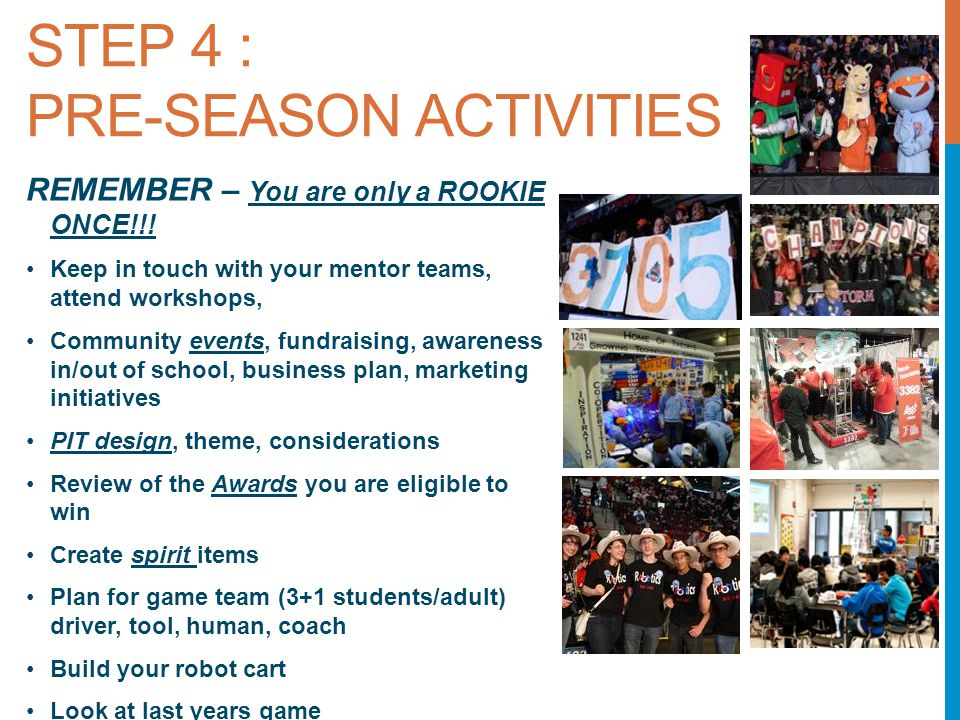 STEP 4 : PRE-SEASON ACTIVITIES REMEMBER – You are only a ROOKIE ONCE!!.