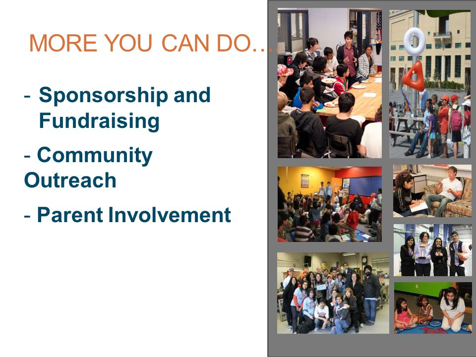 MORE YOU CAN DO….. -Sponsorship and Fundraising - Community Outreach - Parent Involvement