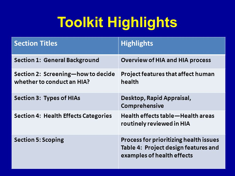 Toolkit Highlights Section TitlesHighlights Section 1: General BackgroundOverview of HIA and HIA process Section 2: Screening—how to decide whether to conduct an HIA.