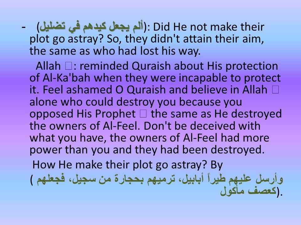 ألم يجعل كيدهم في تضليل - ( ألم يجعل كيدهم في تضليل ): Did He not make their plot go astray.