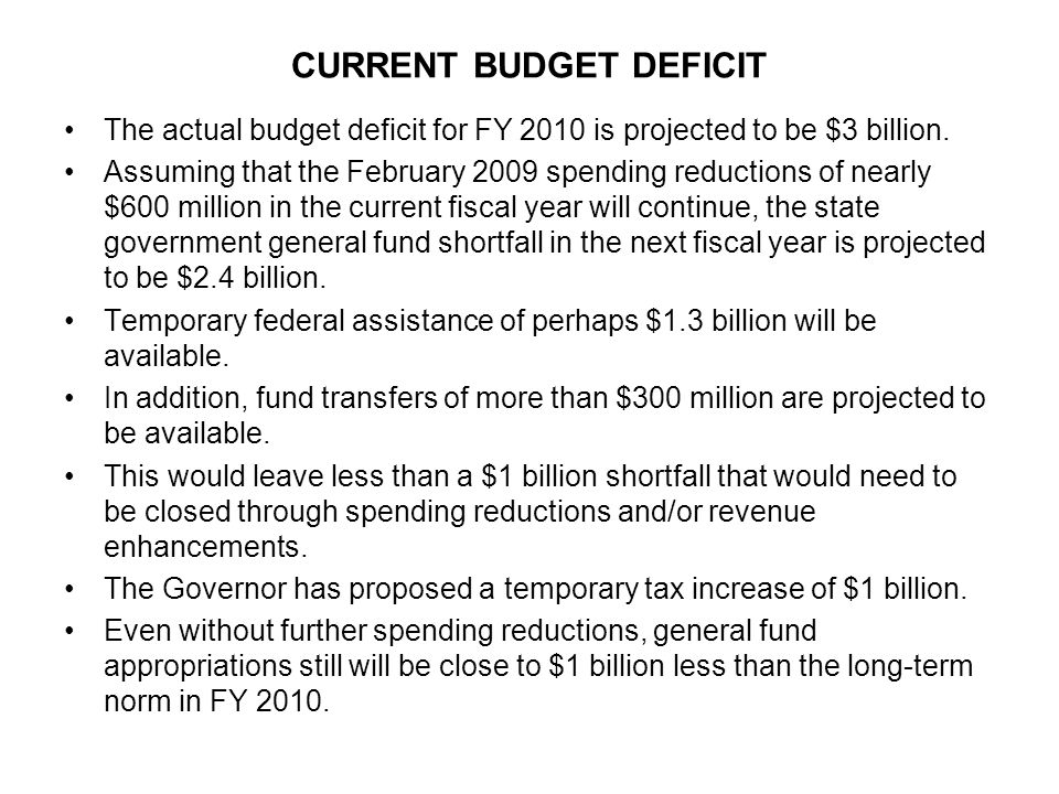 CURRENT BUDGET DEFICIT The actual budget deficit for FY 2010 is projected to be $3 billion.