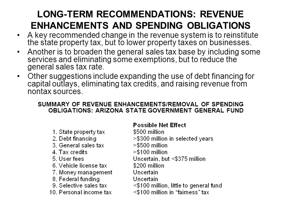 LONG-TERM RECOMMENDATIONS: REVENUE ENHANCEMENTS AND SPENDING OBLIGATIONS A key recommended change in the revenue system is to reinstitute the state property tax, but to lower property taxes on businesses.