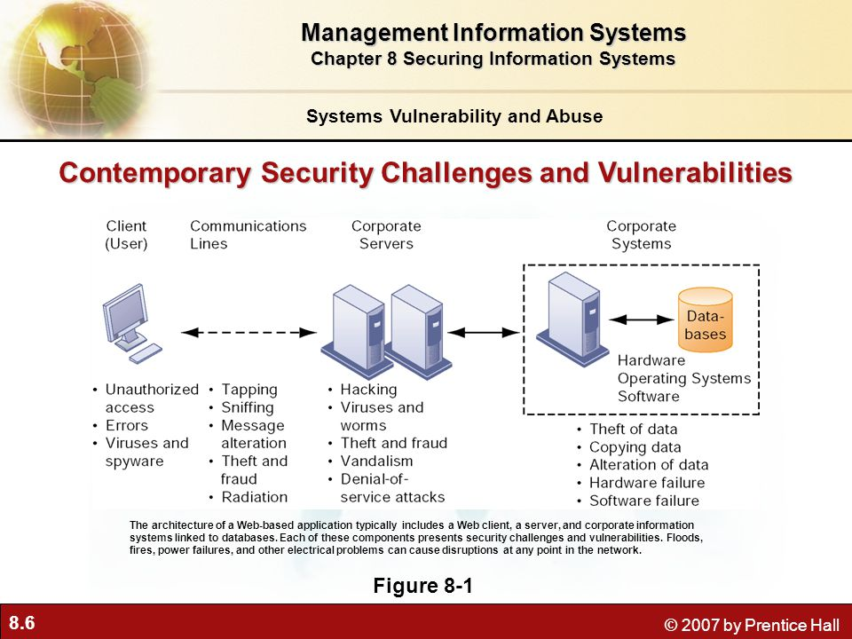 8.6 © 2007 by Prentice Hall Contemporary Security Challenges and Vulnerabilities Figure 8-1 The architecture of a Web-based application typically incl