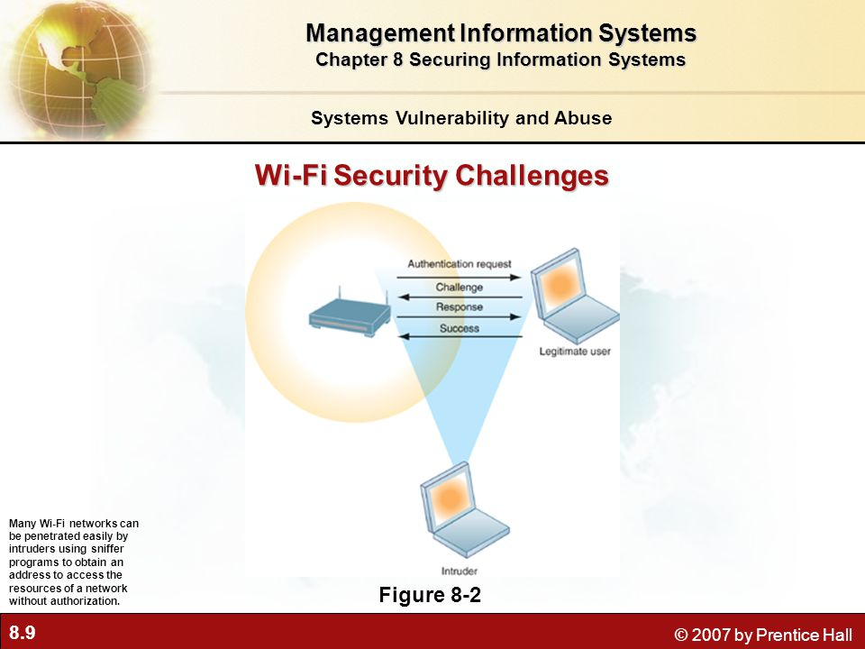 8.10 © 2007 by Prentice Hall Systems Vulnerability and Abuse Malicious software (malware) Computer virus Rogue software program that attaches to other programs or data files Payload may be relatively benign or highly destructive Worm: Independent program that copies itself over network Viruses and worms spread via: Downloaded software files E-mail attachments Infected e-mail messages or instant messages Infected disks or machines Management Information Systems Chapter 8 Securing Information Systems