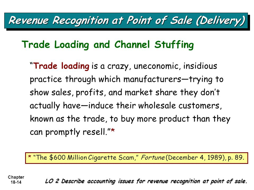 """Chapter 18-14 """"Trade loading is a crazy, uneconomic, insidious practice through which manufacturers—trying to show sales, profits, and market share th"""