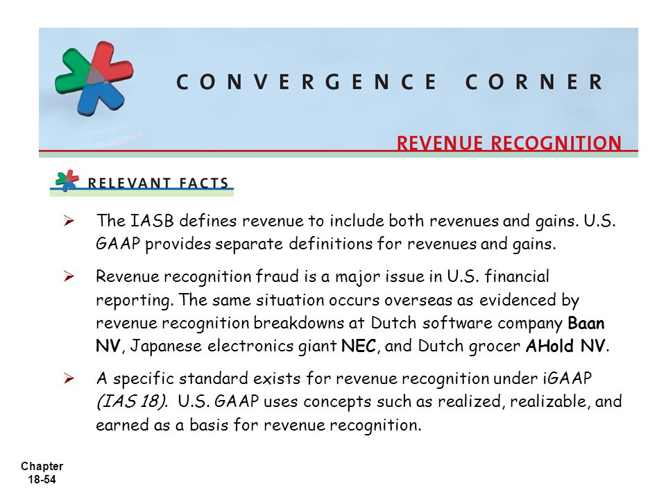 Chapter 18-54   The IASB defines revenue to include both revenues and gains. U.S. GAAP provides separate definitions for revenues and gains.   Rev