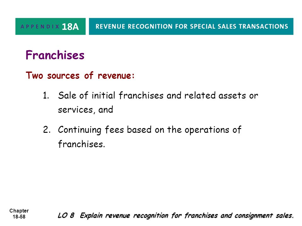 Chapter 18-58 Franchises Two sources of revenue: 1. 1.Sale of initial franchises and related assets or services, and 2. 2.Continuing fees based on the
