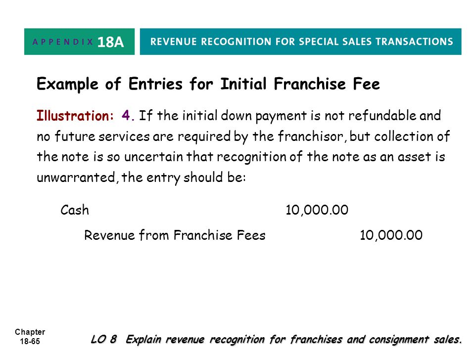 Chapter 18-65 LO 8 Explain revenue recognition for franchises and consignment sales. Illustration: 4. If the initial down payment is not refundable an