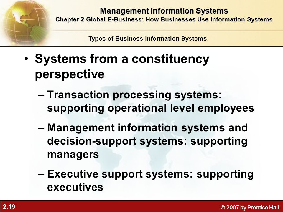 2.19 © 2007 by Prentice Hall Systems from a constituency perspective –Transaction processing systems: supporting operational level employees –Manageme