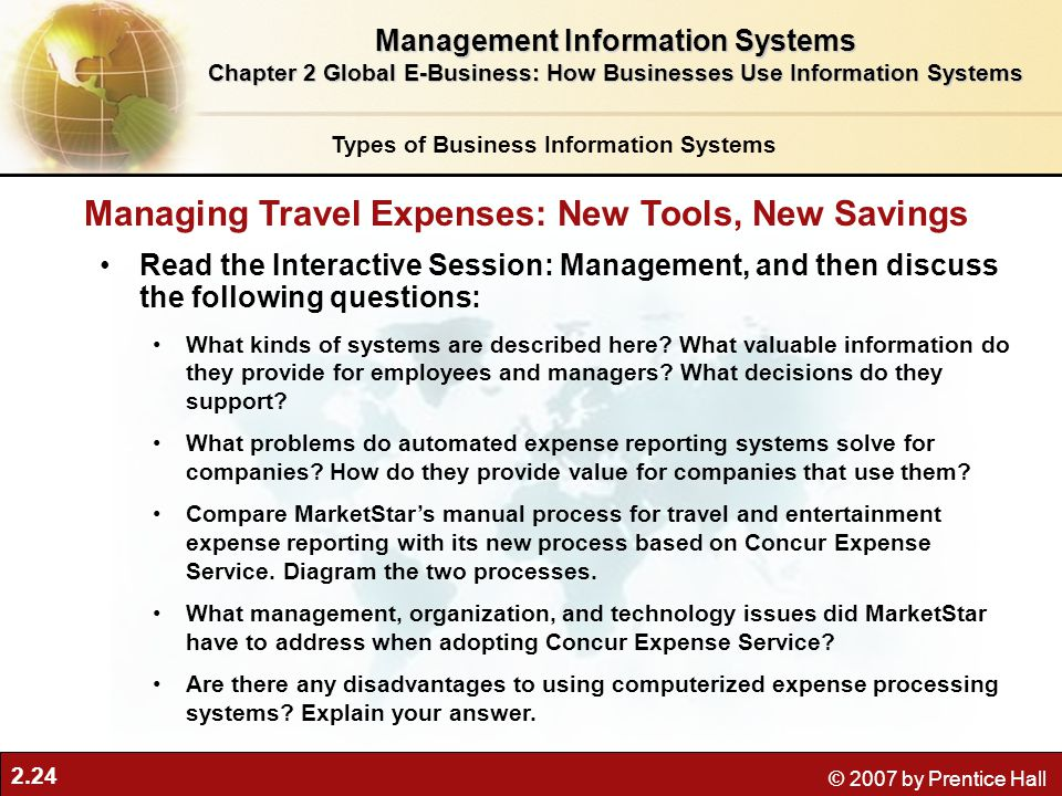 2.24 © 2007 by Prentice Hall Read the Interactive Session: Management, and then discuss the following questions: What kinds of systems are described here.