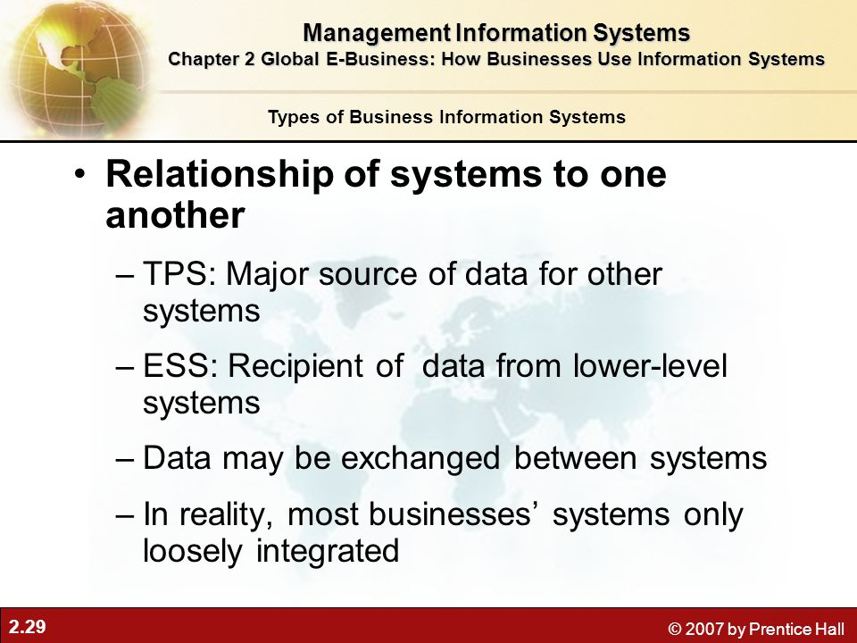 2.29 © 2007 by Prentice Hall Relationship of systems to one another –TPS: Major source of data for other systems –ESS: Recipient of data from lower-level systems –Data may be exchanged between systems –In reality, most businesses' systems only loosely integrated Types of Business Information Systems Management Information Systems Chapter 2 Global E-Business: How Businesses Use Information Systems