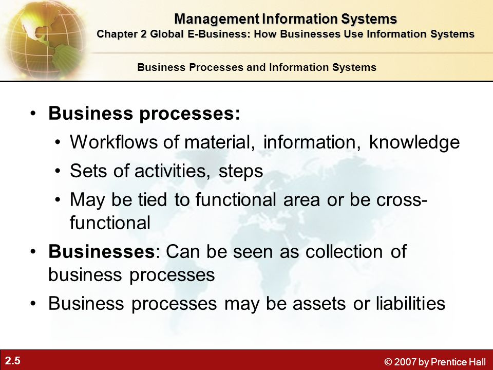 2.5 © 2007 by Prentice Hall Business Processes and Information Systems Business processes: Workflows of material, information, knowledge Sets of activ