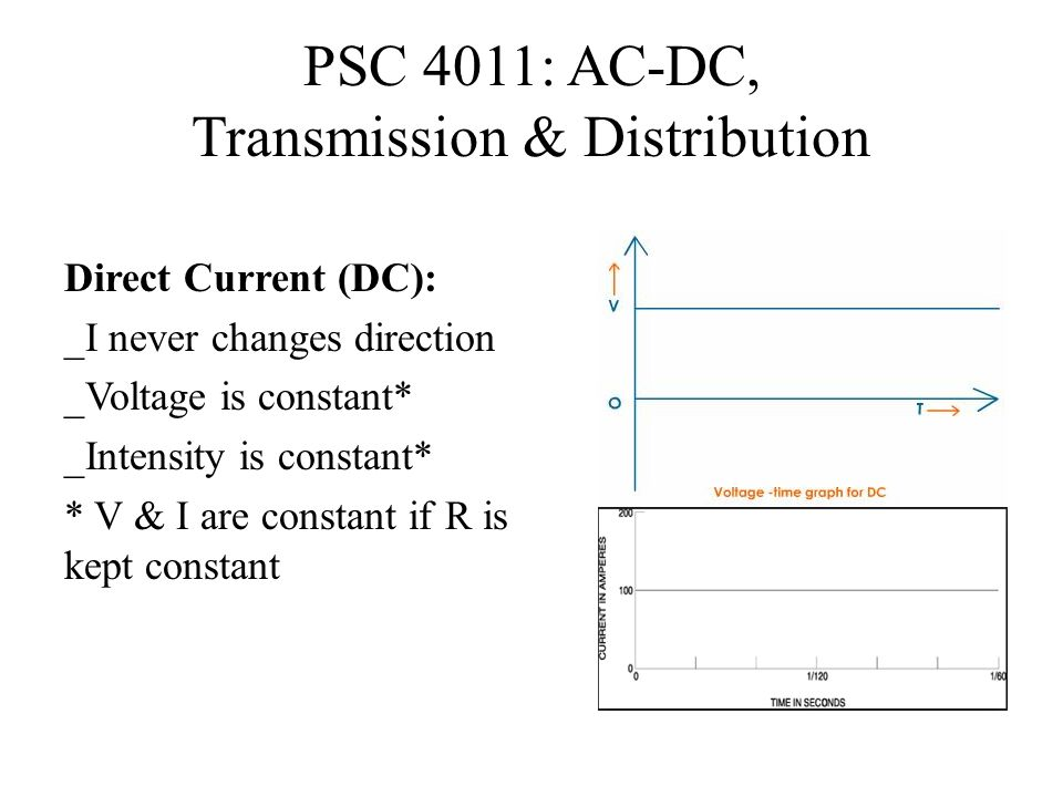 PSC 4011: AC-DC, Transmission & Distribution Direct Current (DC): _I never changes direction _Voltage is constant* _Intensity is constant* * V & I are