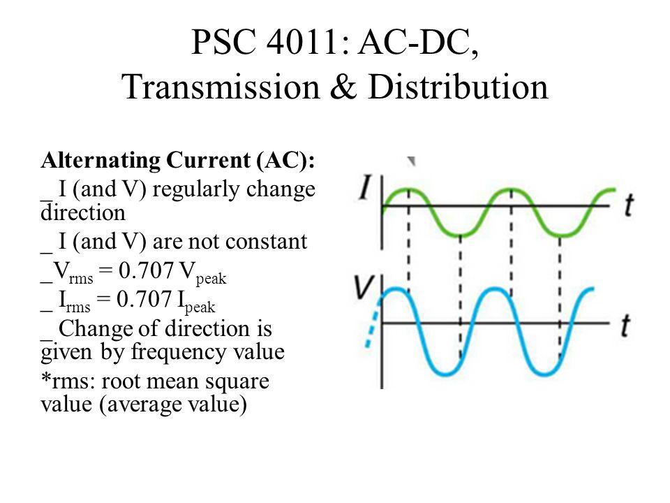 PSC 4011: AC-DC, Transmission & Distribution Alternating Current (AC): _ I (and V) regularly change direction _ I (and V) are not constant _V rms = 0.