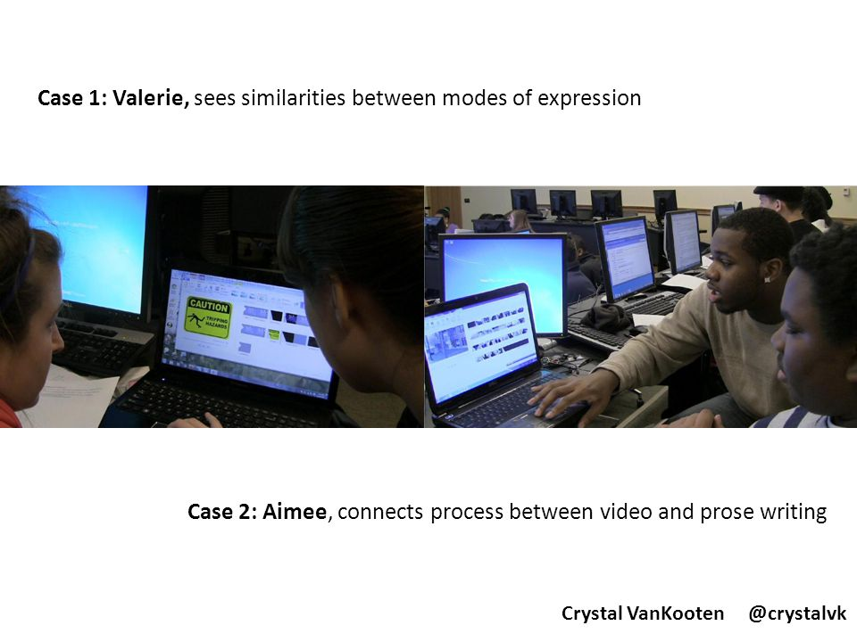 Valerie – on her own, she sees similarities between compositional techniques in video and writing, but doesn't explore them, reflect on them, or think about how she might apply what she has noticed in the future Aimee – on her own, she sees similarities between her process for video and prose writing and participates in self-motivated reflection.