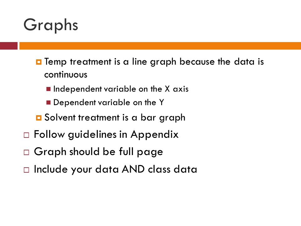 Graphs  Temp treatment is a line graph because the data is continuous Independent variable on the X axis Dependent variable on the Y  Solvent treatment is a bar graph  Follow guidelines in Appendix  Graph should be full page  Include your data AND class data