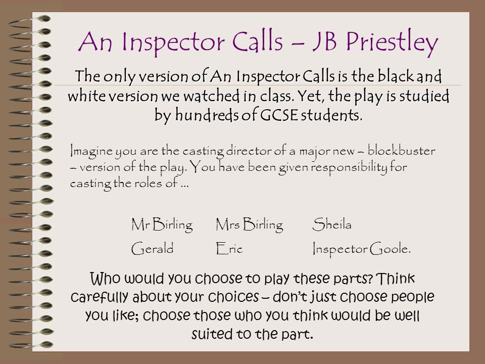 The only version of An Inspector Calls is the black and white version we watched in class.