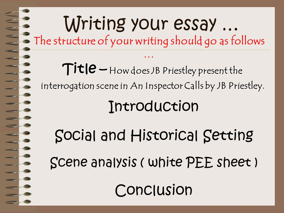 Writing your essay … The structure of your writing should go as follows … Introduction Social and Historical Setting Scene analysis ( white PEE sheet ) Conclusion Title – How does JB Priestley present the interrogation scene in An Inspector Calls by JB Priestley.