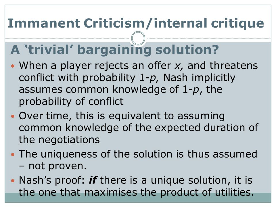 A 'trivial' bargaining solution.