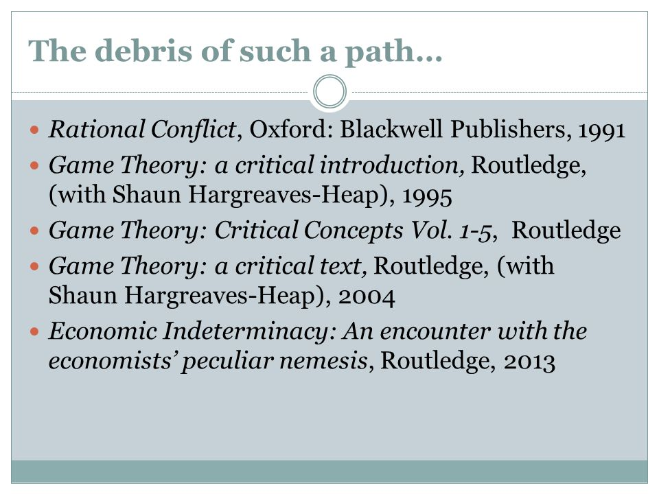 The debris of such a path… Rational Conflict, Oxford: Blackwell Publishers, 1991 Game Theory: a critical introduction, Routledge, (with Shaun Hargreaves-Heap), 1995 Game Theory: Critical Concepts Vol.