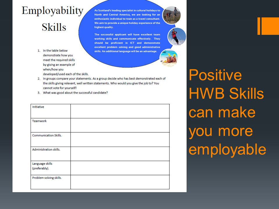 Positive HWB Skills can make you more employable