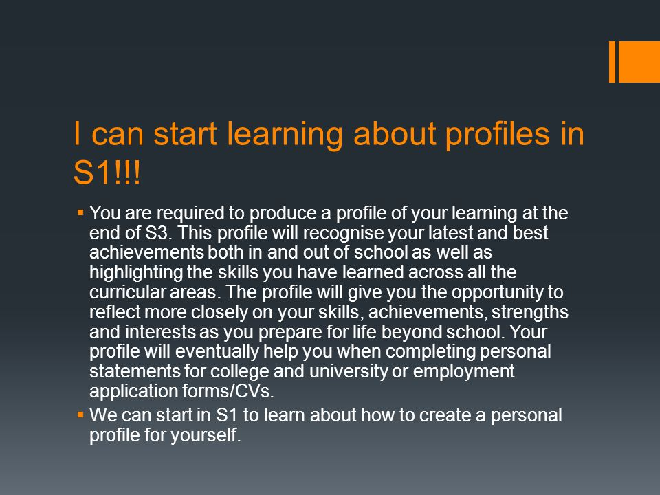 I can start learning about profiles in S1!!.
