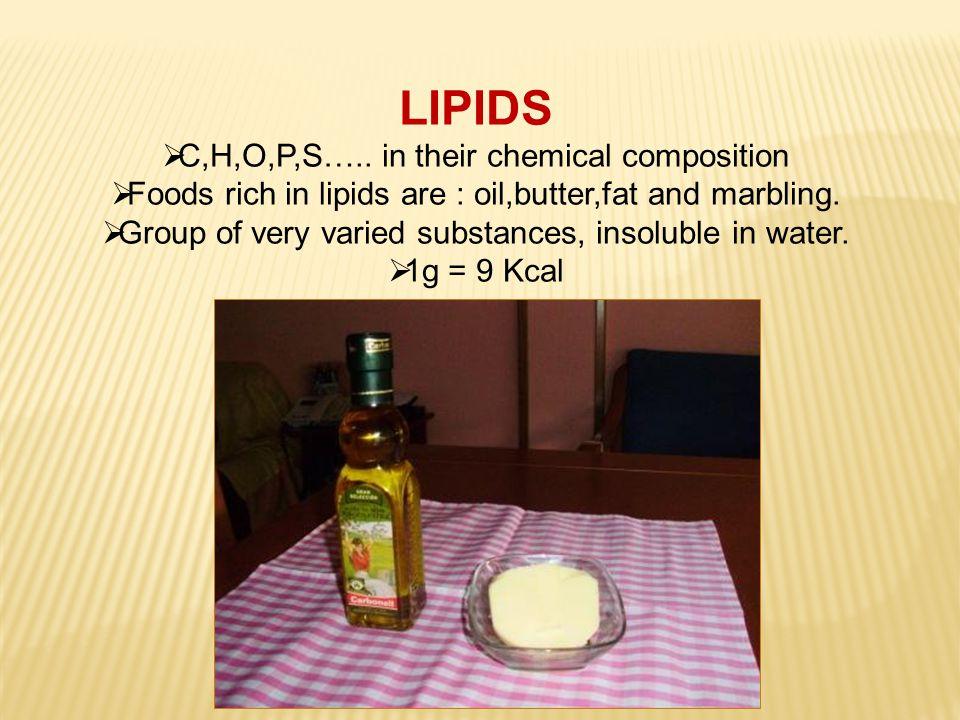LIPIDS CC,H,O,P,S…..
