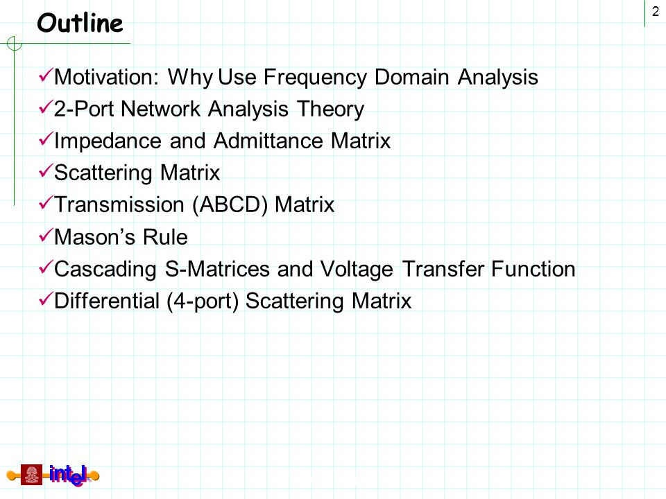 Differential Signaling 2 Outline Motivation: Why Use Frequency Domain Analysis 2-Port Network Analysis Theory Impedance and Admittance Matrix Scatteri