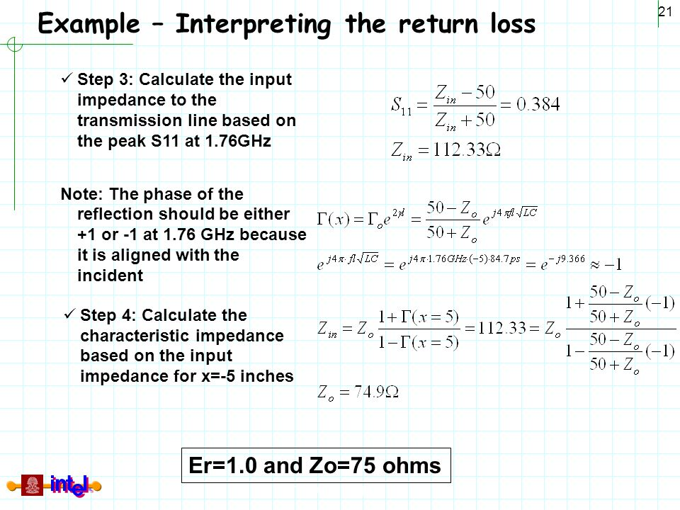 Differential Signaling 21 Example – Interpreting the return loss Step 3: Calculate the input impedance to the transmission line based on the peak S11