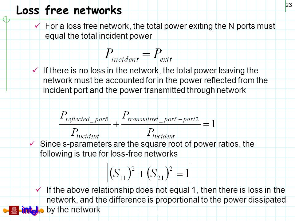 Differential Signaling 23 Loss free networks For a loss free network, the total power exiting the N ports must equal the total incident power If there