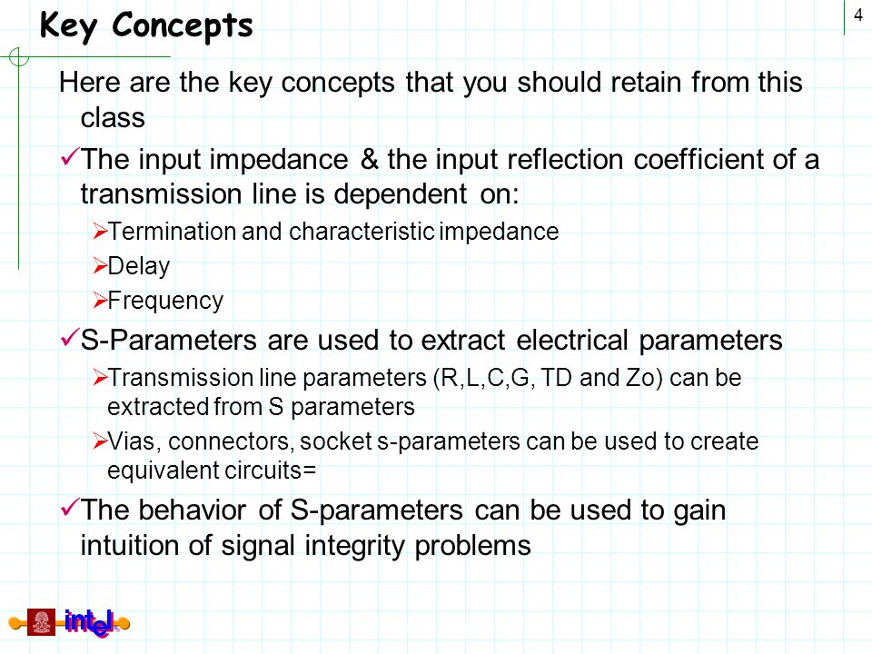 Differential Signaling 4 Key Concepts Here are the key concepts that you should retain from this class The input impedance & the input reflection coef