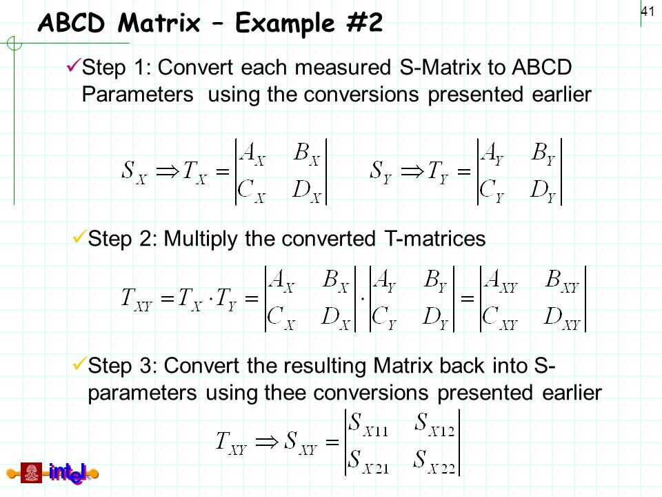 Differential Signaling 41 ABCD Matrix – Example #2 Step 1: Convert each measured S-Matrix to ABCD Parameters using the conversions presented earlier S