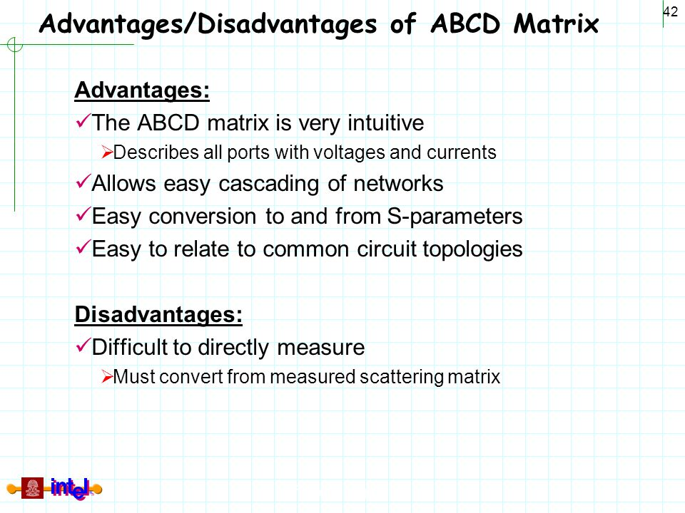 Differential Signaling 42 Advantages/Disadvantages of ABCD Matrix Advantages: The ABCD matrix is very intuitive  Describes all ports with voltages an