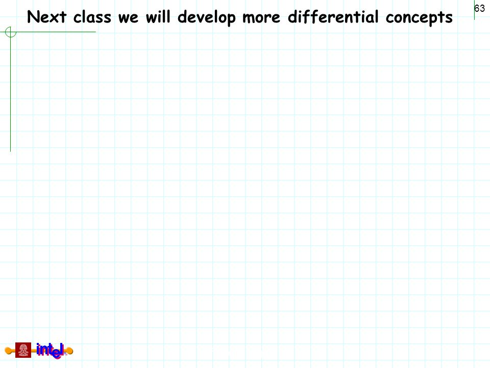 Differential Signaling 63 Next class we will develop more differential concepts