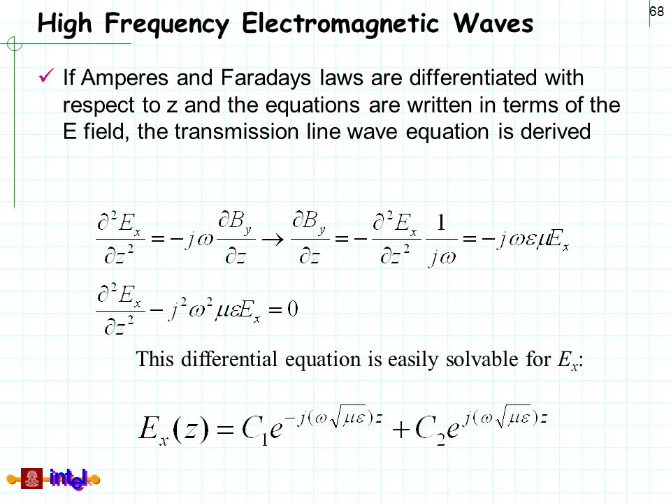 Differential Signaling 68 High Frequency Electromagnetic Waves If Amperes and Faradays laws are differentiated with respect to z and the equations are