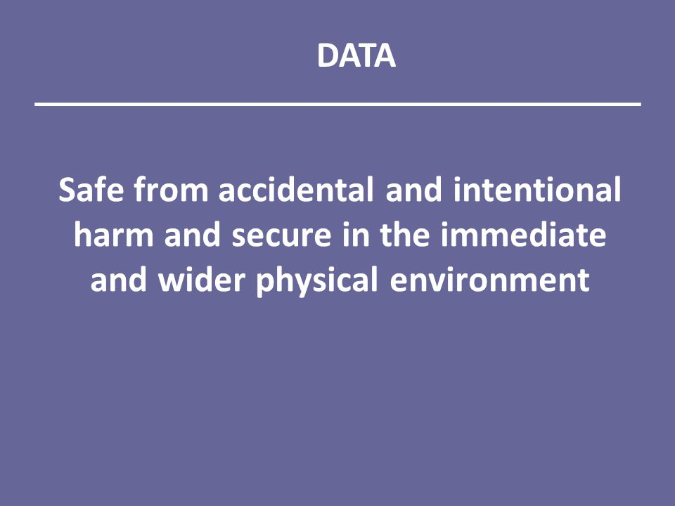 Safe from accidental and intentional harm and secure in the immediate and wider physical environment DATA
